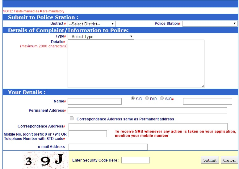 Register Online FIR Complaint form