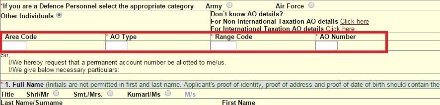 AO Code Type Range