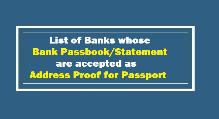 Banks Passbook for Passport