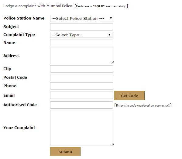 Mumbai Police FIR Complaint Form