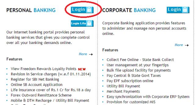Login Button Internet Banking in SBI