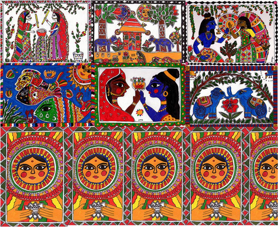 madhubani paintings Lord vishnu with goddess lakshmi seated on his 'vahana' (consort) - garuda under kalpavriksha the story behind kalpavriksha is something like this -when indra – king of the gods – lost his kingdom, he went to lord vishnu, the supreme one, for help to regain it.