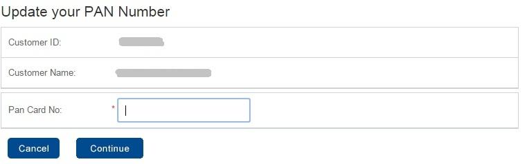 PAN Number Updation Form
