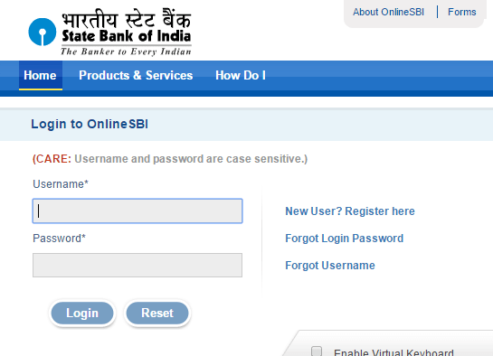 SBI Username and Password