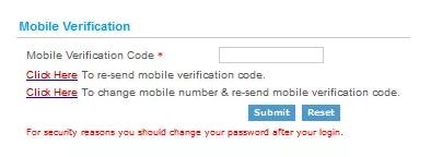 IRCTC Mobile Verification Code