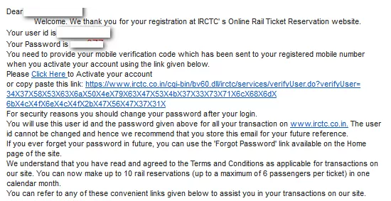 IRCTC Sign Up Activation Link