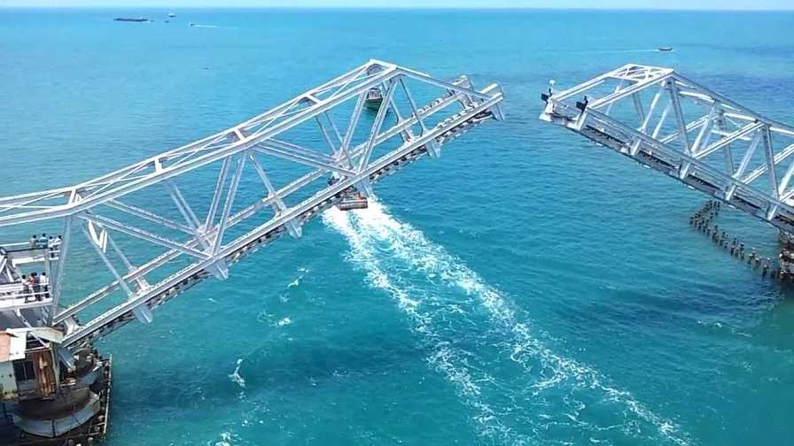 Pamban Bridge Opens for Ship
