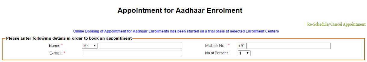 Aadhaar Appointment Personal Details