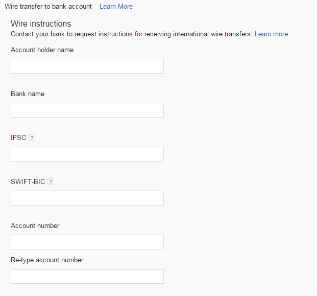 Bank Details in Adsense Account