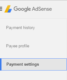 Payment Settings Option in Adsense