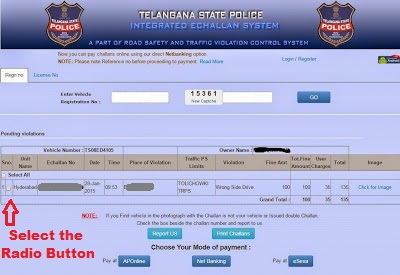 Selecting the Challan