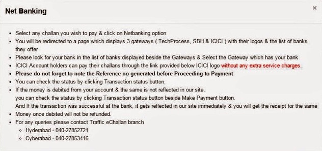 Net Banking Instructions