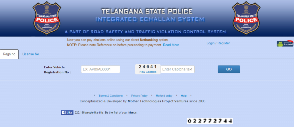 Check Traffic E-challan Status in Telangana by Vehicle Registration Number