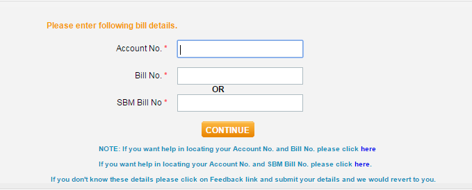 Enter Account Number and Bill Number