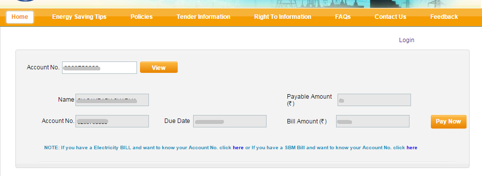 Name on Account Bill amount Due Date