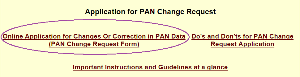 Application for PAN Change Request