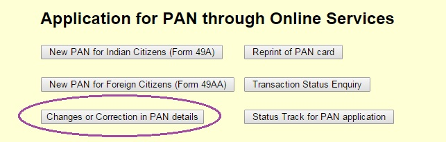 Application for PAN through Online Services