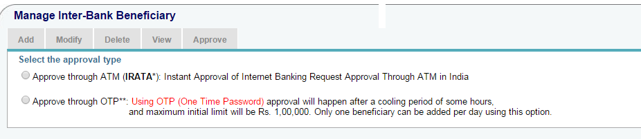 Approve SBI Beneficiary Through OTP or IRATA