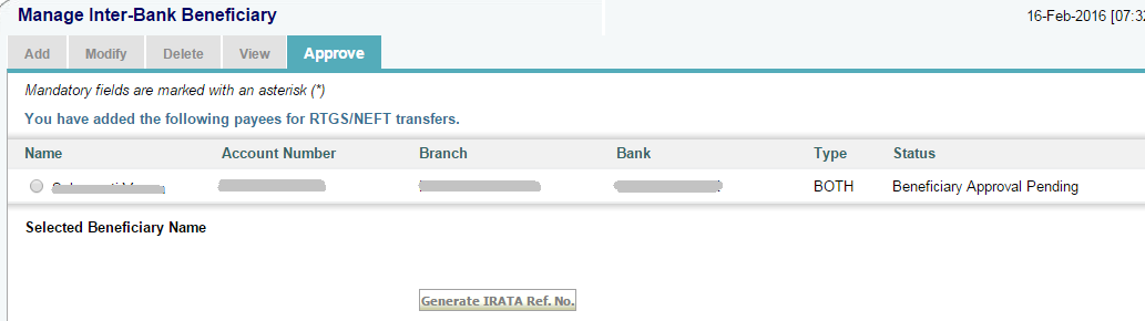 Approve SBI Beneficiary through IRATA by ATM