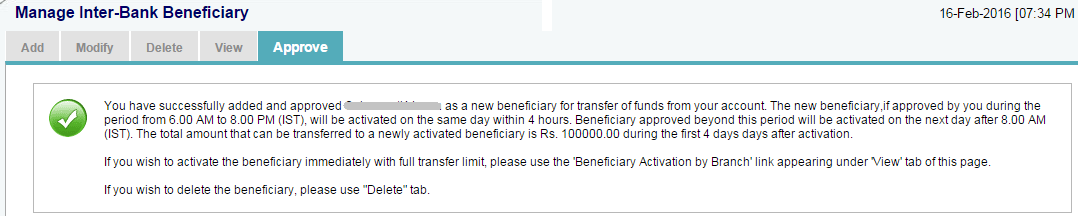 Beneficiary Successfully Added in SBI Online
