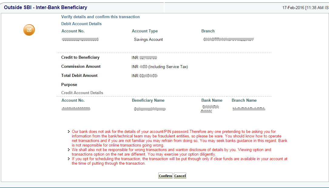 Confirm to Transfer Funds by NEFT from SBI Online