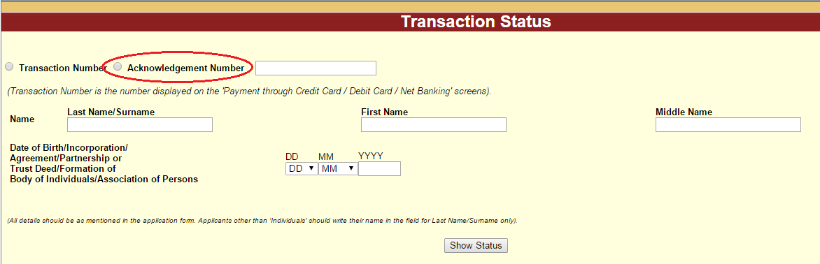 PAN Card Failed Transaction Status by Acknowledgement Number Name and Date of Birth
