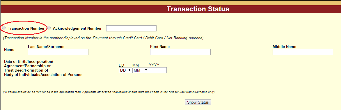 PAN Card Failed Transaction Status by Transaction Number Name and Date of Birth