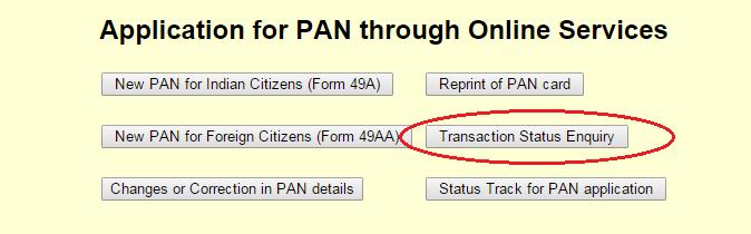 PAN Card Failed Transaction Status