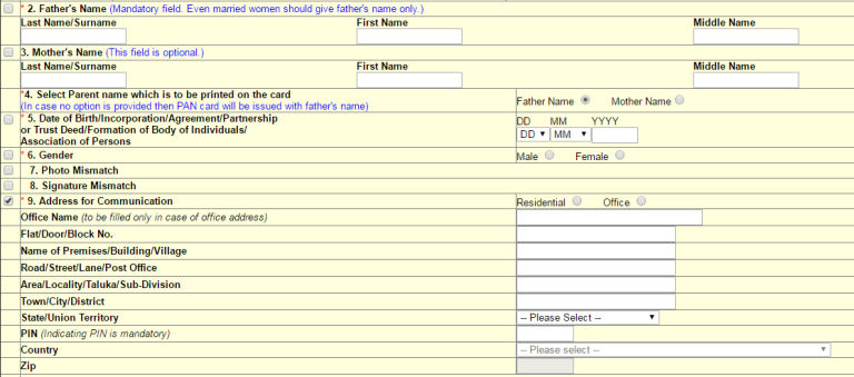 how to change father's name in pan card
