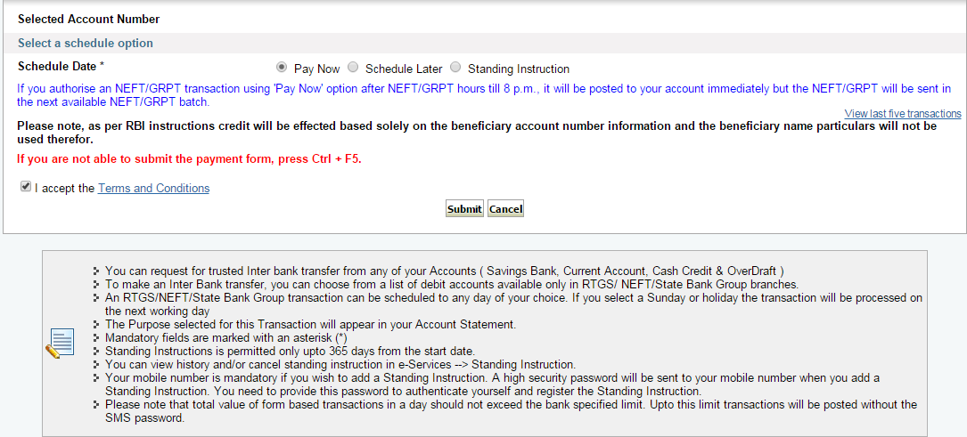 Pay Now option to Transfer Funds from SBI by NEFT
