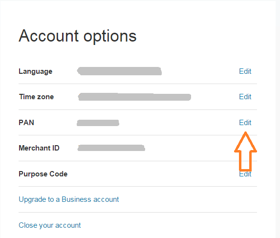 PayPal Account Options