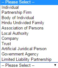 Selecting the Category of PAN Card Applicant
