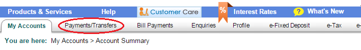 Selecting the Payments or Transfers Option in SBI Online