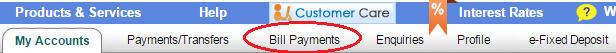 Bill Payments Tab in Online SBI
