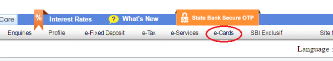 E Cards Option in Online SBI