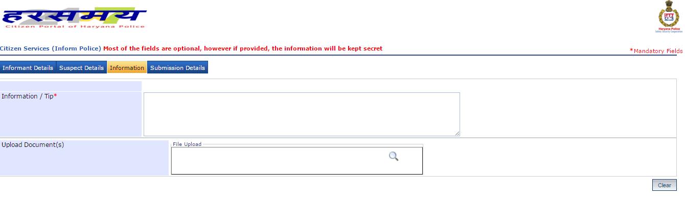 Extra Information to Register Online FIR in Haryana