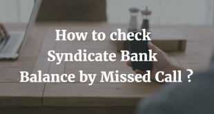 How to check Syndicate Bank balance by missed call