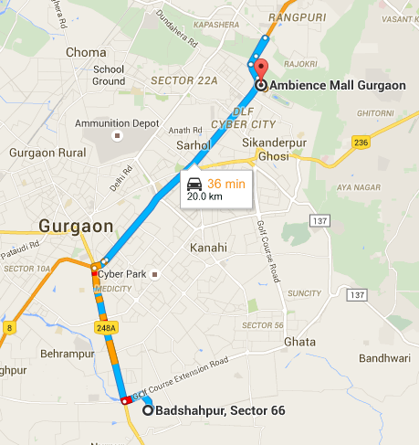 Pod Taxi Gurgaon Route Map