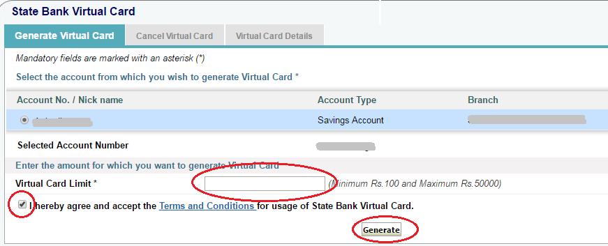 SBI Virtual Card Limit