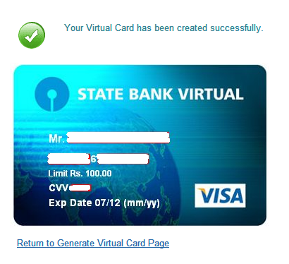 SBI Virtual Credit Card
