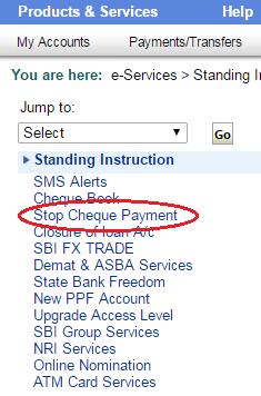 Stop Cheque Payment in Online SBI