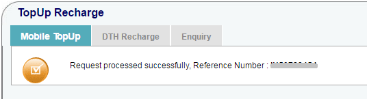 Successful Mobile Recharge Request in SBI Online