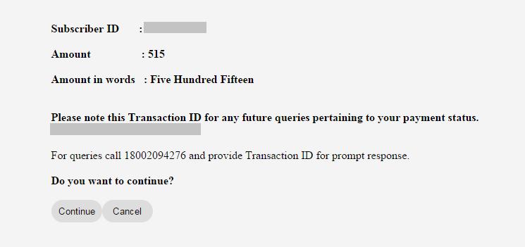 Tikona Bill Pay Transaction ID