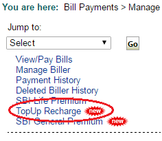 Top Up Recharge Option in Online SBI