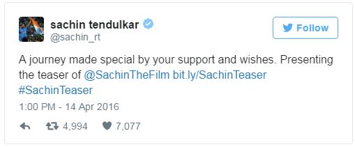 Sachin's Tweet on his Movie