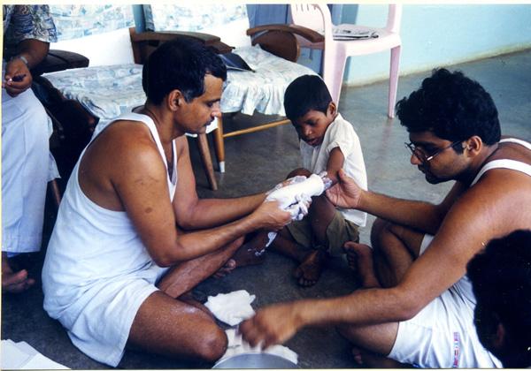 Dr.Prakash Amte Treating Tribals