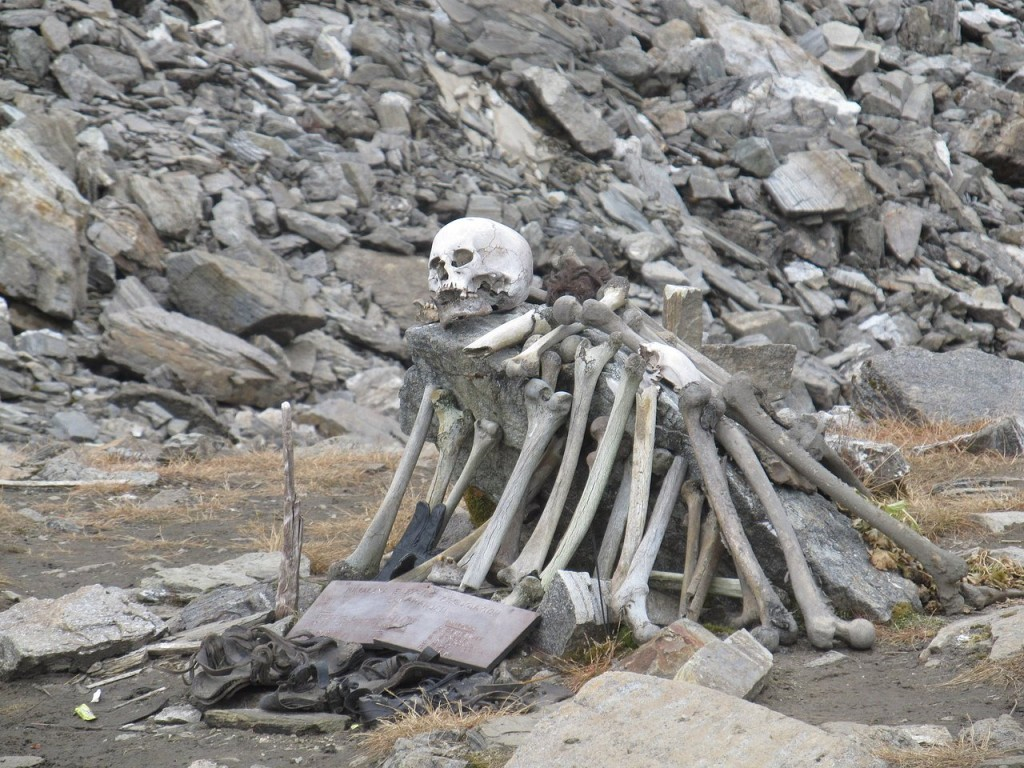 Skeletons at Roopkund Lake