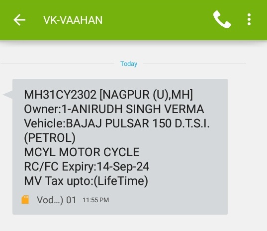 Search Vehicle Registration Details by SMS