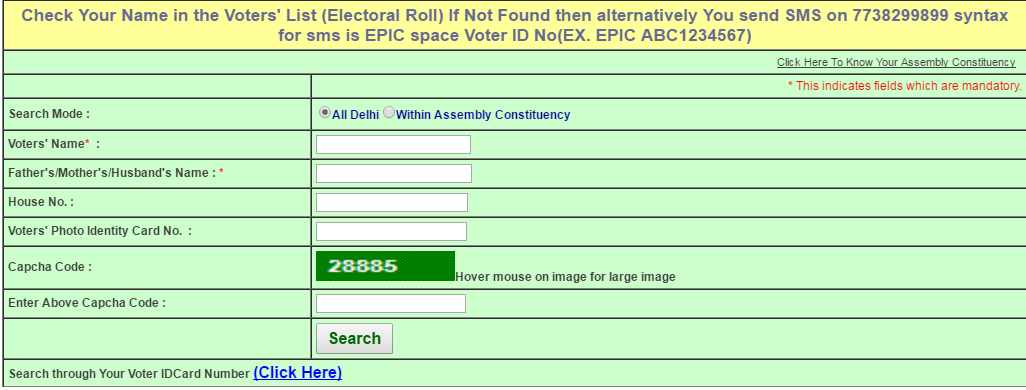 Search your Name in Electoral Roll of Delhi