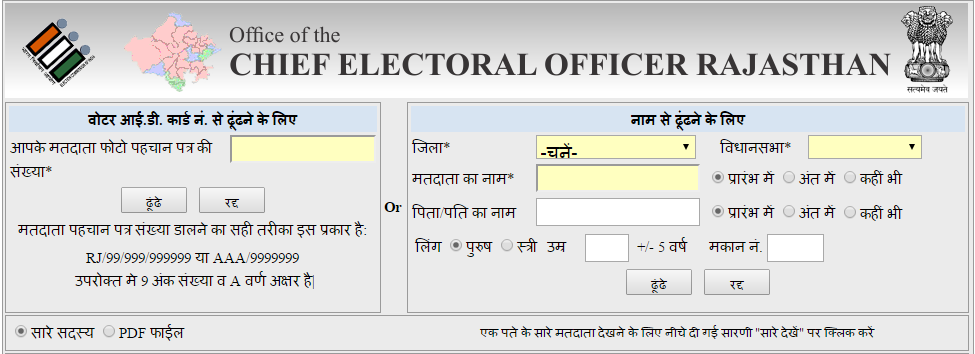 Search your Name in Electoral Roll of Rajasthan by EPIC No or District & Assembly Constituency
